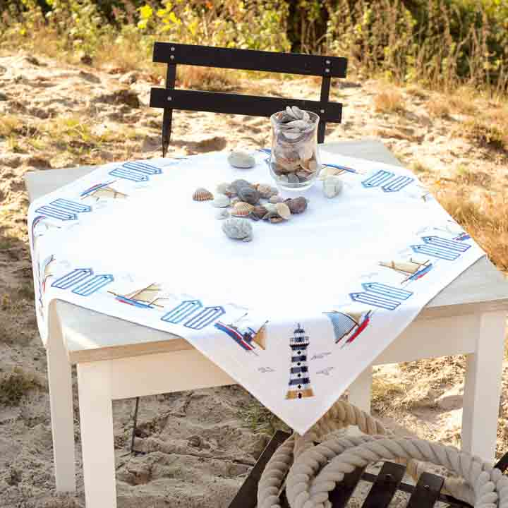 Vervaco Counted Cross Stitch Kit: Tablecloth: Beach