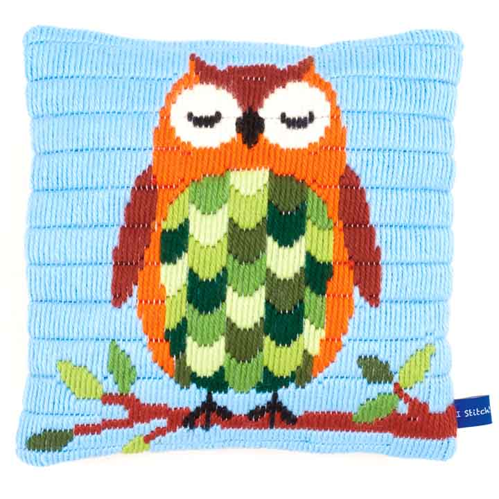 Vervaco Long Stitch Cushion: Sleeping Owl Long Stitch Cushion