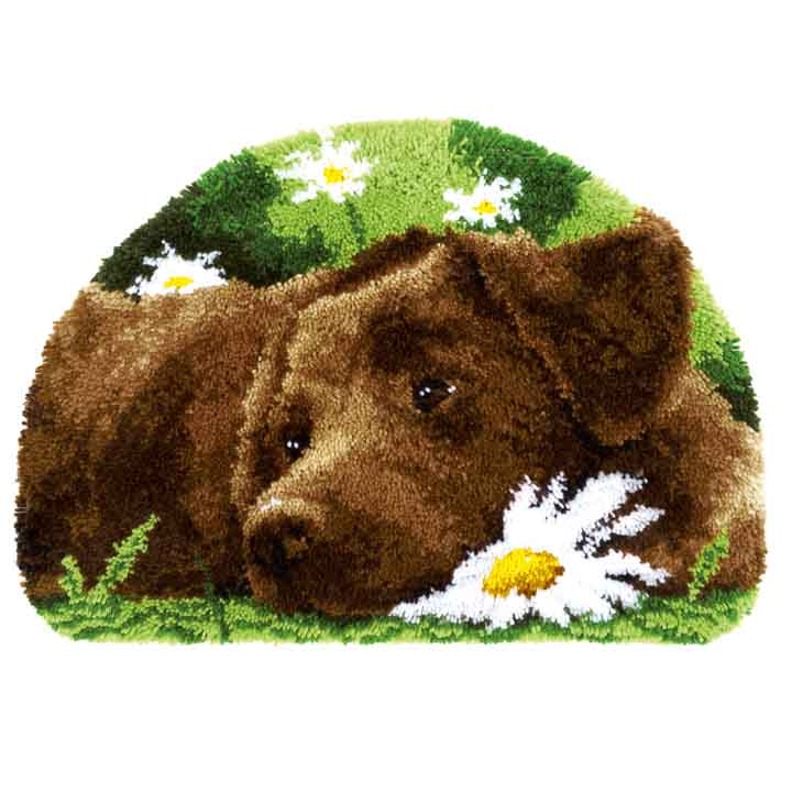 Vervaco Latch Hook Rug: Chocolate Labrador Latch Hook Rug & Wall Hanging Kit