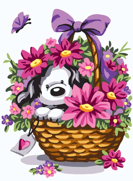 Collection D Art Printed Tapestry Canvas: Puppy in a Basket of Flowers
