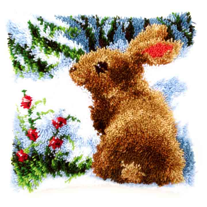 Vervaco Latch Hook Cushion: Rabbit in the Snow
