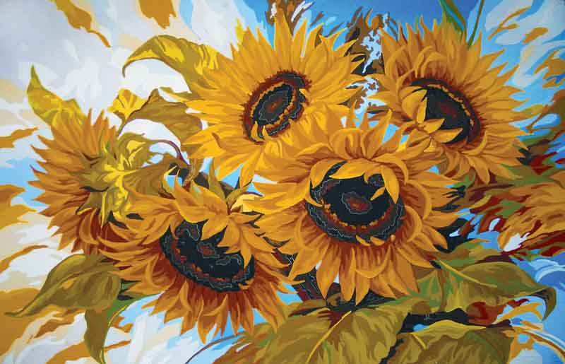 Collection D Art Printed Tapestry Canvas: Windswept Sunflowers Flowers & Nature PTC