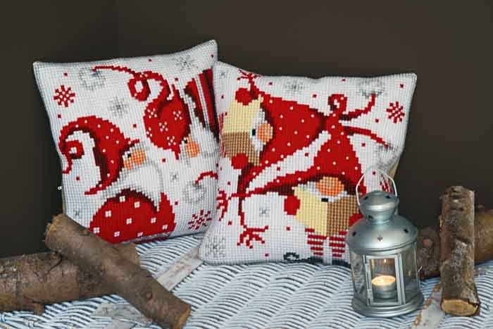 Vervaco Cross Stitch Kit: Cushion: Christmas Gnomes II | PN_0164611 Christmas CSCK 2