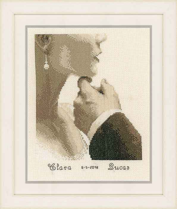 Vervaco Counted Cross Stitch Kit: Wedding Record: Bride and Groom | PN_0166022