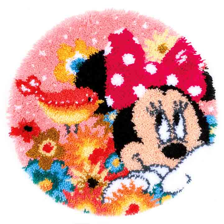 Vervaco Latch Hook: Shaped Rug: Minnie - Psst I've a secret Latch Hook Rug & Wall Hanging Kit