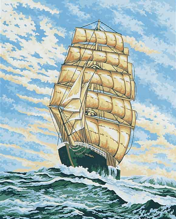 Collection D Art Printed Tapestry Canvas: Under Full Sail Sealife PTC