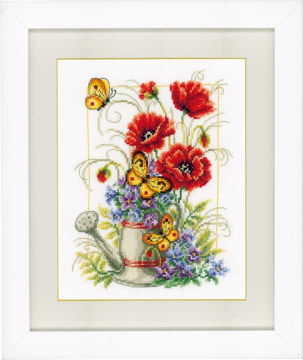Vervaco Counted Cross Stitch: Watering Can Flowers