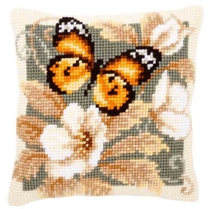 Vervaco Cross Stitch Cushion: Black & Orange Butterfly Insects & Bugs CSCK