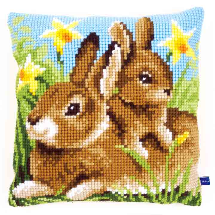 Vervaco Cross Stitch Cushion: Mother and Baby Rabbit Flowers & Nature CSCK