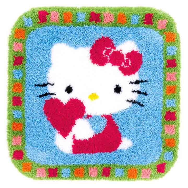 Vervaco Latch Hook Rug: Hello Kitty with a Heart Latch Hook Rug & Wall Hanging Kit