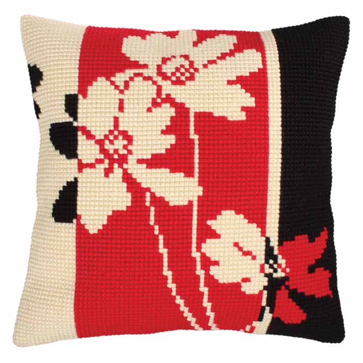 Collection D Art Cross Stitch Cushion: Red and Black