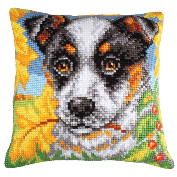 Collection D Art Cross Stitch Cushion: Dog and Autumn Leaves Animals & Birds CSCK