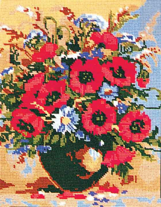 Collection D Art Printed Tapestry Canvas: Poppies and Cornflowers Flowers & Nature PTC