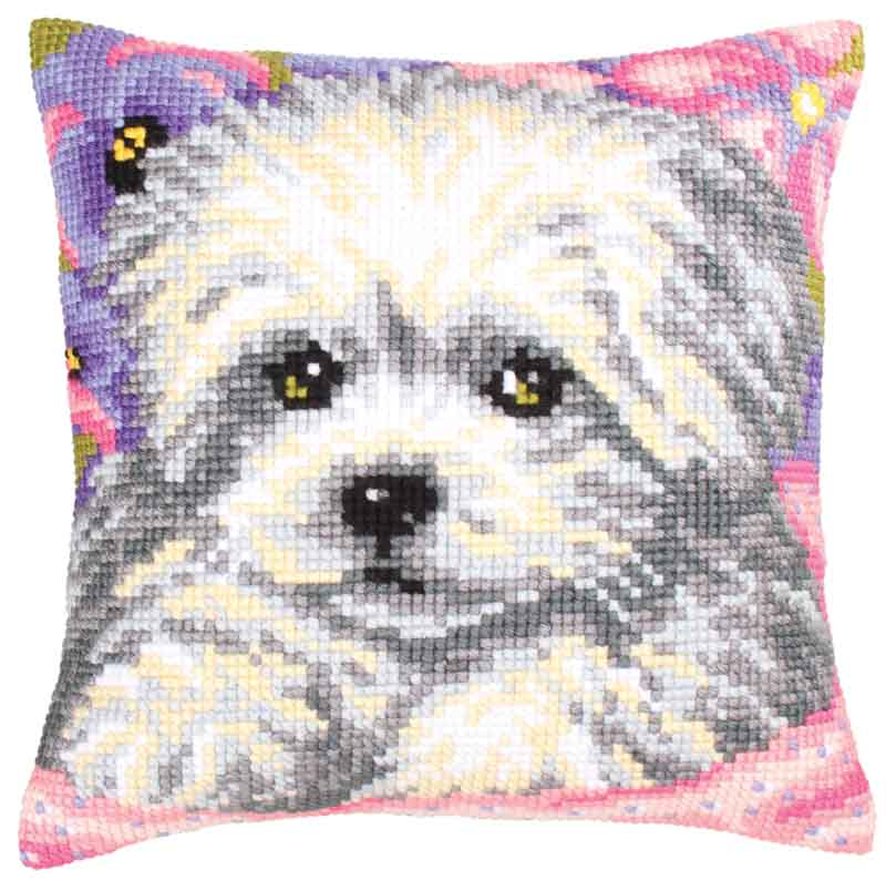 Collection D Art Cross Stitch Cushion: Little Doggy Animals & Birds CSCK