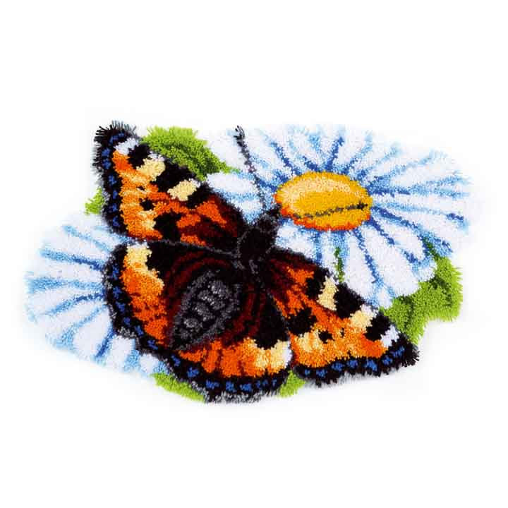 Vervaco Latch Hook: Shaped Rug: Butterfly on Daisy Latch Hook Rug & Wall Hanging Kit