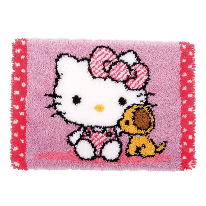 Vervaco Latch Hook: Rug: Hello Kitty with Dog Latch Hook Rug & Wall Hanging Kit