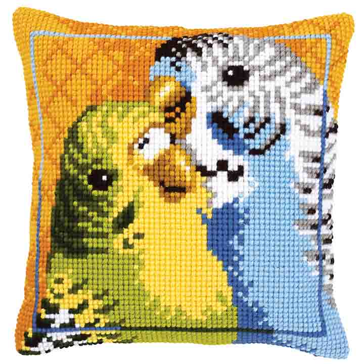 Vervaco Cross Stitch Cushion: Budgies Birds CSCK