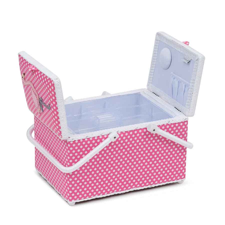 HobbyGift HGTLR_324 | Classic Collection | Twin Lid Rectangular Box Applique | Flamingos Bird Print Sewing Box 2