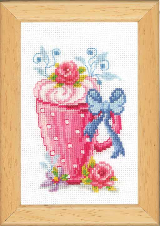 Vervaco Counted Cross Stitch Kit: Pink Latte Cup & Flowers
