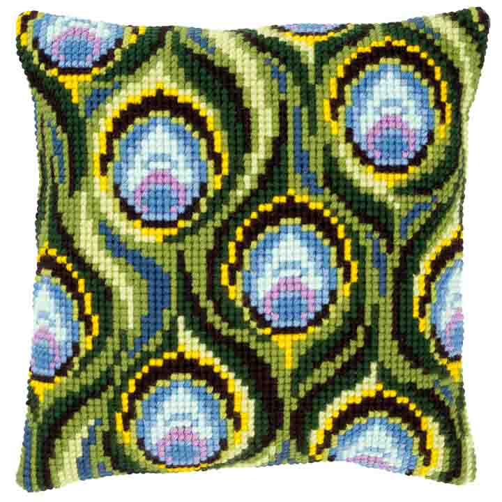 Vervaco Cross Stitch Cushion: Peacock Feathers Patterns CSCK
