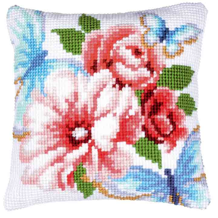 Vervaco Cross Stitch Cushion: Blue Butterflies Insects & Bugs CSCK