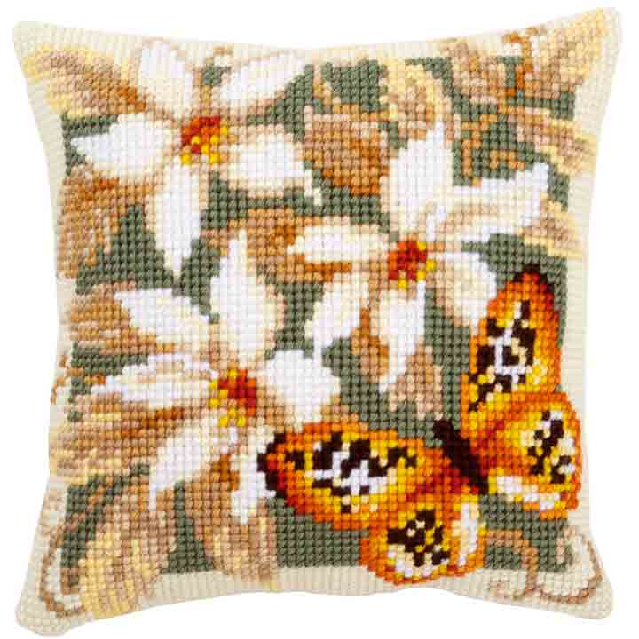 Vervaco Cross Stitch Cushion: Orange Butterfly Insects & Bugs CSCK