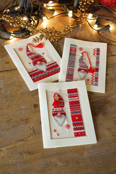 Vervaco Counted Cross Stitch: Greeting Cards: Christmas Elf (Set of 3)
