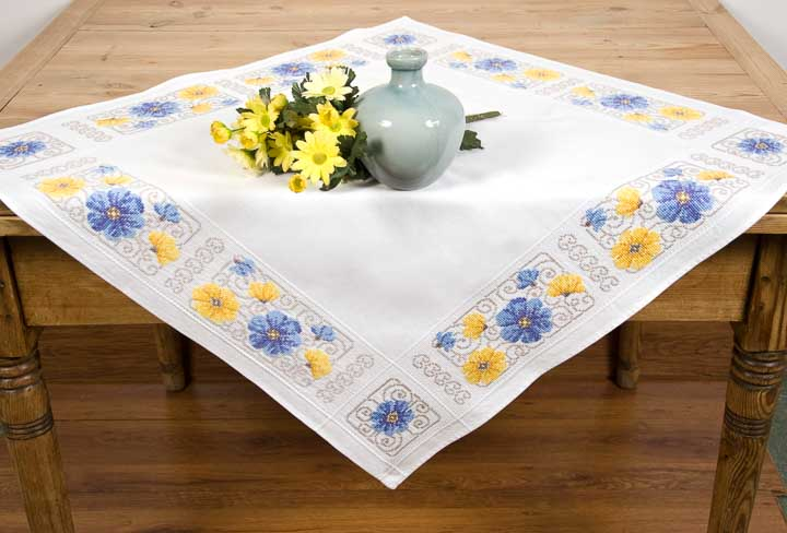Vervaco Counted Cross Stitch Kit: Tablecloth: Blue and Yellow Flowers