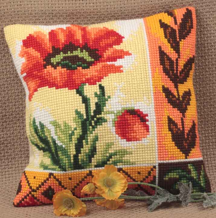 Collection D Art Cross Stitch Cushion:  New Poppy