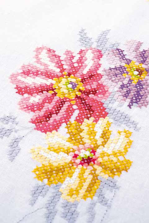 Vervaco Counted Cross Stitch: Tablecloth: Colourful Flowers