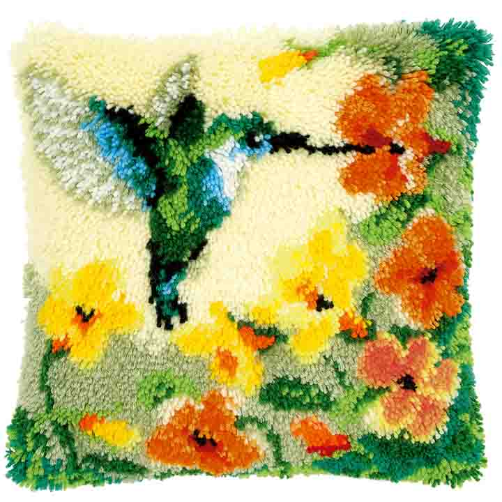 Vervaco Latch Hook Cushion Kit: Hummingbird & Flowers