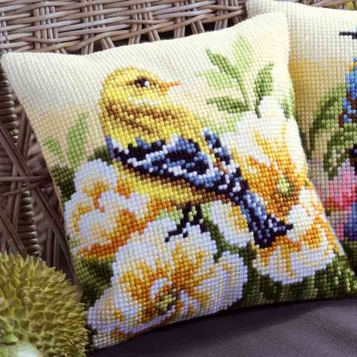 Vervaco Cross Stitch Cushion: Chaffinch on Peonies Birds CSCK