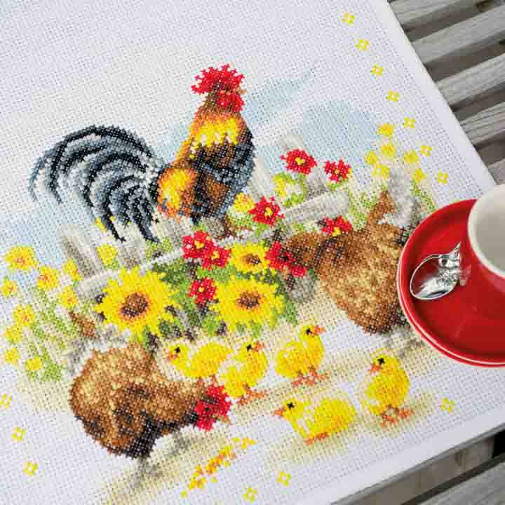 Vervaco Counted Cross Stitch Kit: Runner: Chickens in Flowers