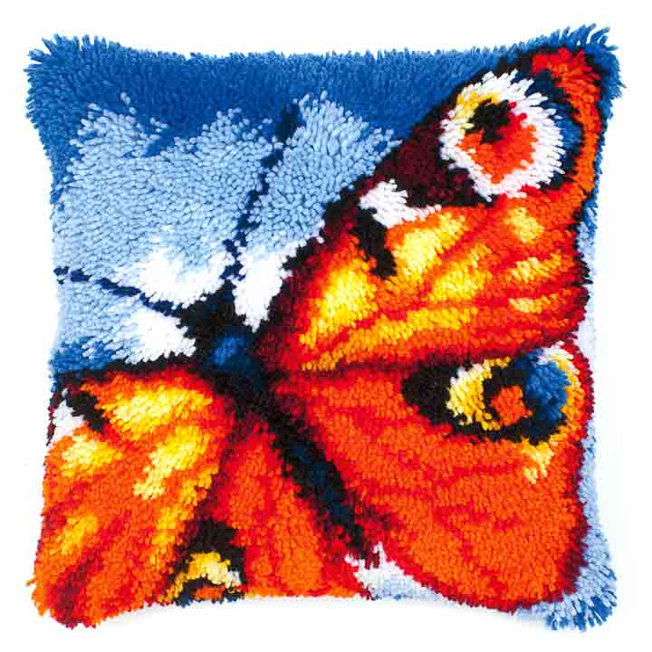 Vervaco Latch Hook Kit: Cushion: Butterfly Latch Hook Cushion Kit