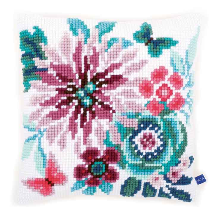 Vervaco Cross Stitch Cushion: Flower Paradise 2 Flowers & Nature CSCK