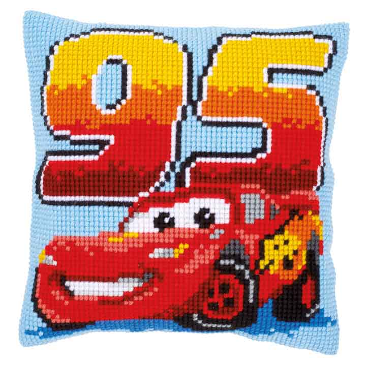 Vervaco Cross Stitch Cushion Kit: Lightning McQueen