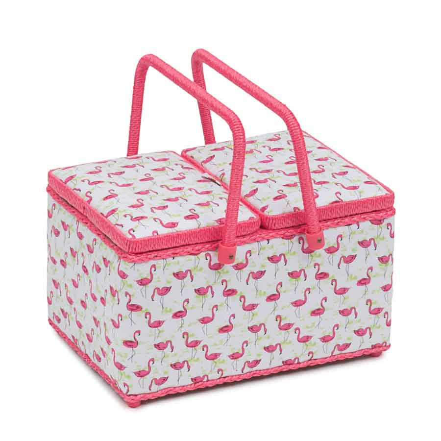 HobbyGift Classic Collection: Twin Lid Rectangular Sewing Box: Flamingo Flock | HGTLR_473