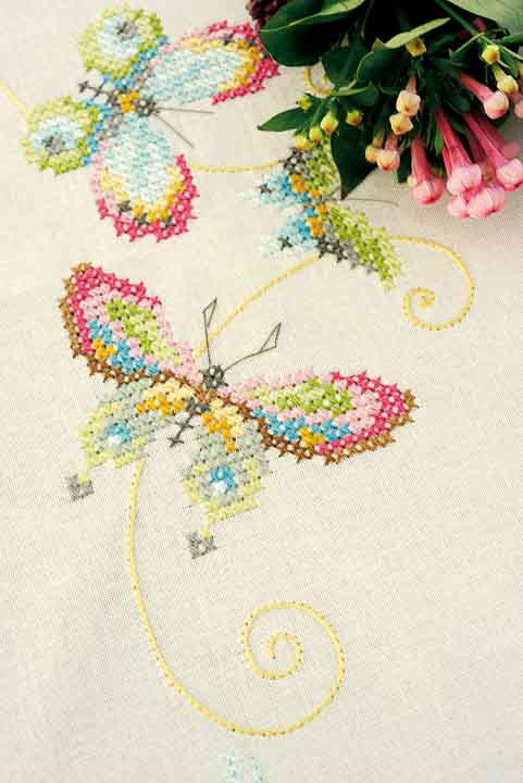 Vervaco Counted Cross Stitch: Tablecloth: Butterflies