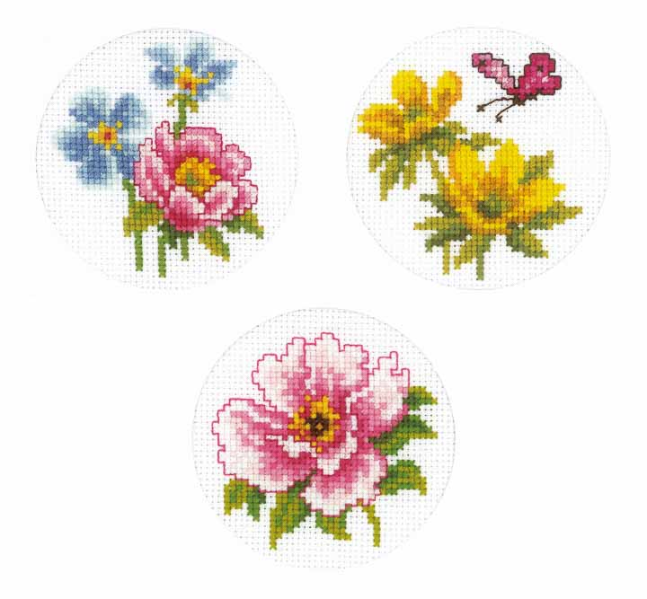 Vervaco Counted Cross Stitch Kit: Spring Flower Cards 3pk