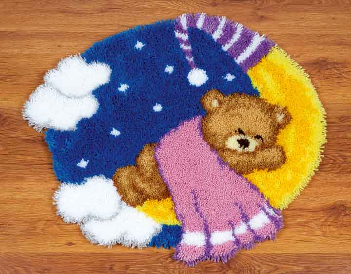 Vervaco Latch Hook Shaped Rug Kit: Teddy On The Moon Latch Hook Rug & Wall Hanging Kit