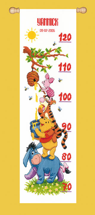 Vervaco Counted Cross Stitch Kit: Height Chart: Winnie and Friends