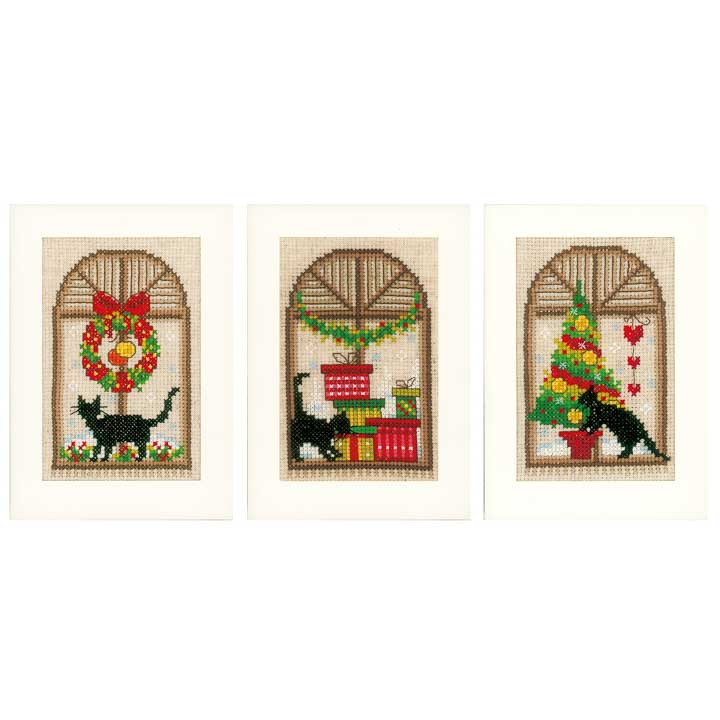 Vervaco Counted Cross Stitch Cards: Christmas Atmosphere (Set of 3)