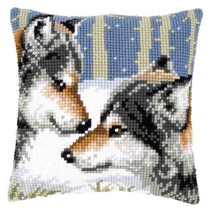 Vervaco Cross Stitch Cushion: Wolves