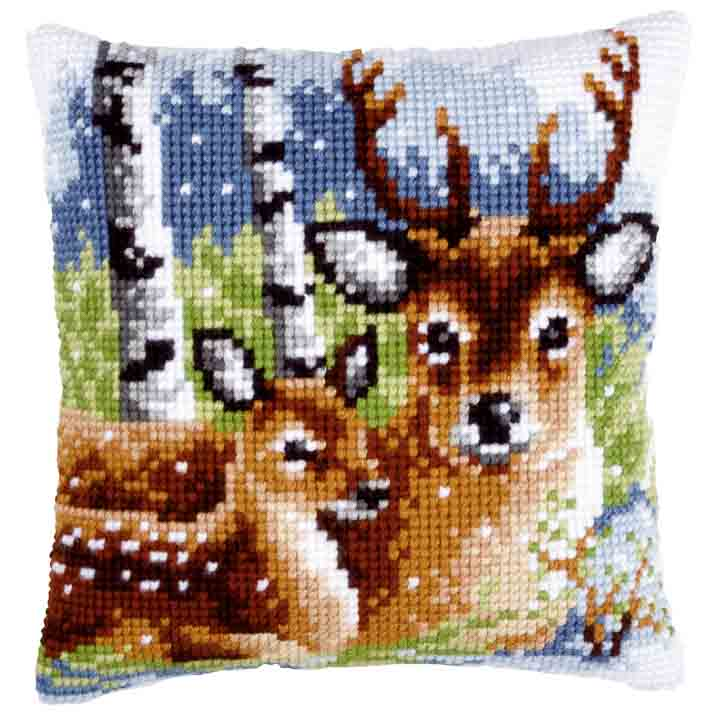 Vervaco Cross Stitch Cushion: Deer Family Animals & Birds CSCK