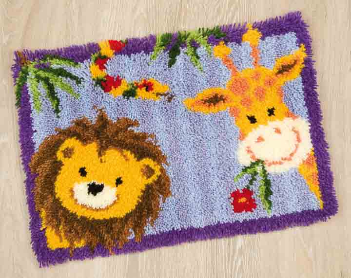 Vervaco Latch Hook Rug Kit - Lion-Giraffe Latch Hook Rug & Wall Hanging Kit