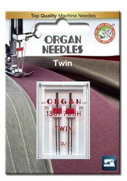 Organ Twin Needles | Size 70 / 2 | 2 Needles Per Pack