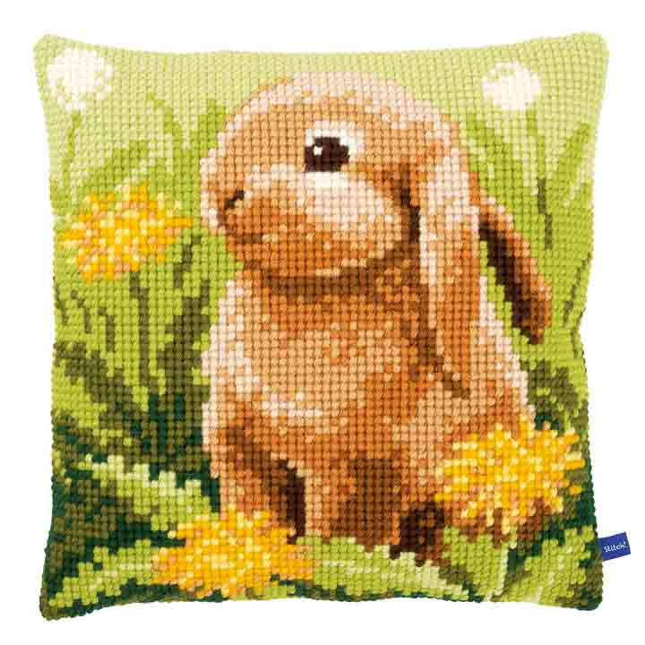 Vervaco Cross Stitch Cushion: Little Hare Flowers & Nature CSCK