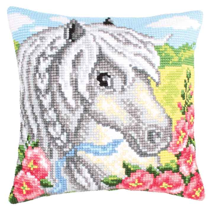 Collection D Art Cross Stitch Cushion: White Horse Animals & Birds CSCK