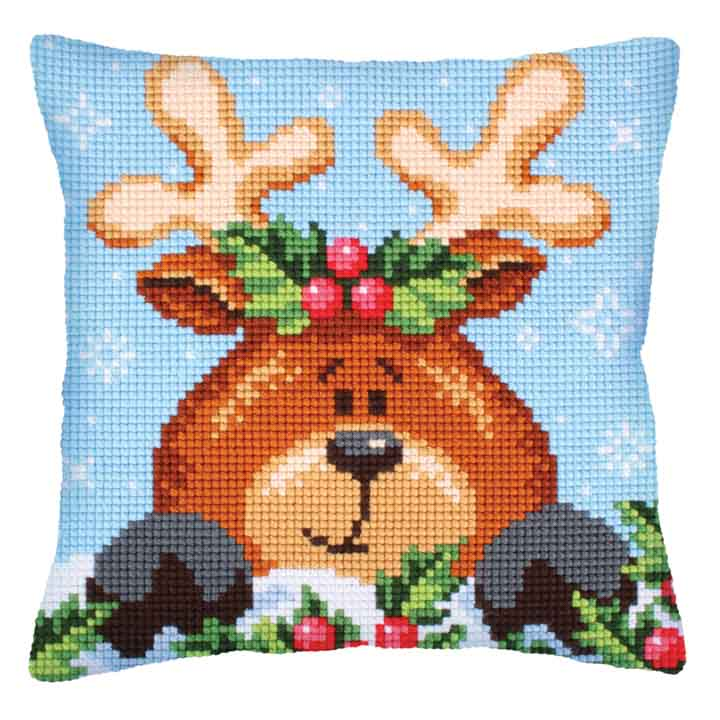 Collection D Art Cross Stitch Cushion: Christmas with Fawn Christmas CSCK