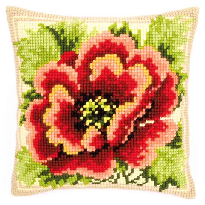 Vervaco Cross Stitch Cushion: Poppies Flowers & Nature CSCK